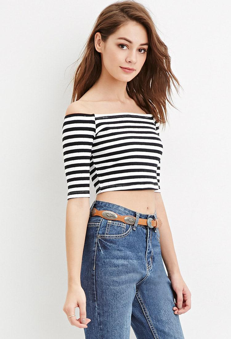 5455042fb7afc Forever 21 Women s Striped Off-the-shoulder Crop Top in Black - Lyst