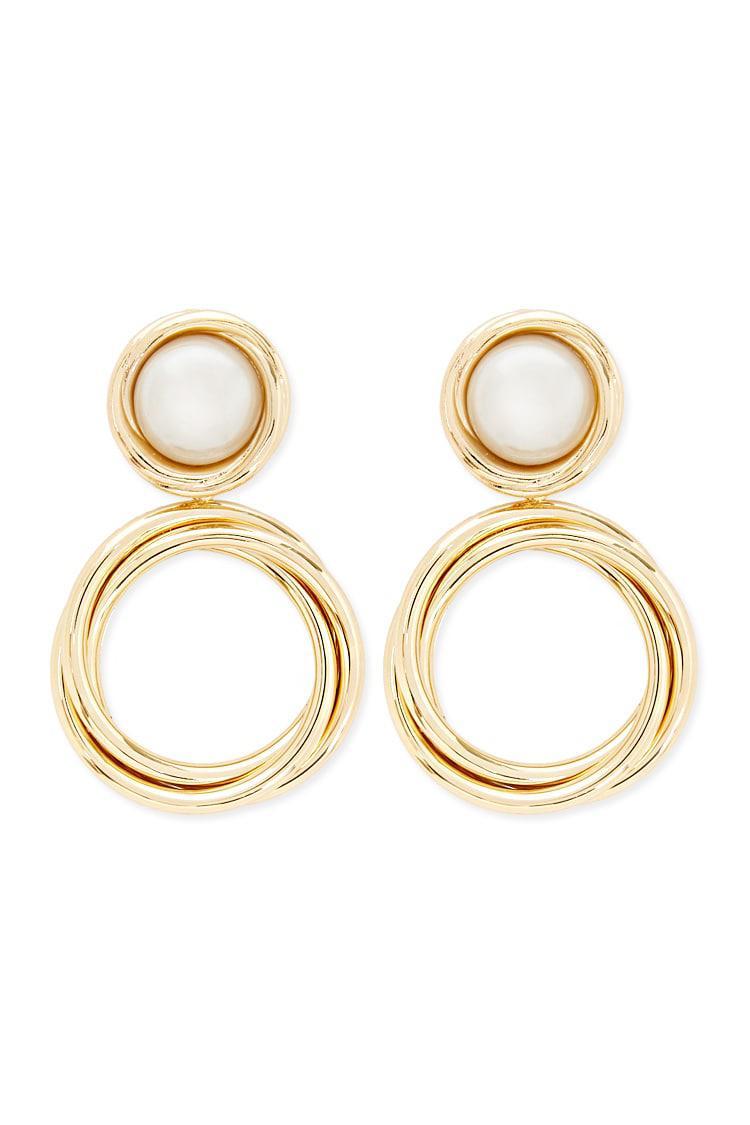 Forever 21 Women S Metallic Faux Pearl Clip On Earrings
