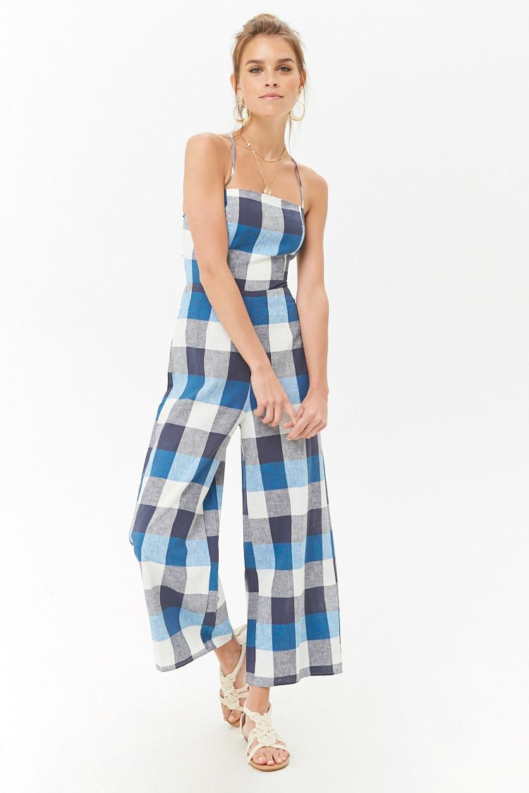9967a91f1f8 Forever 21 Women s Check Linen Cami Jumpsuit in Blue - Lyst