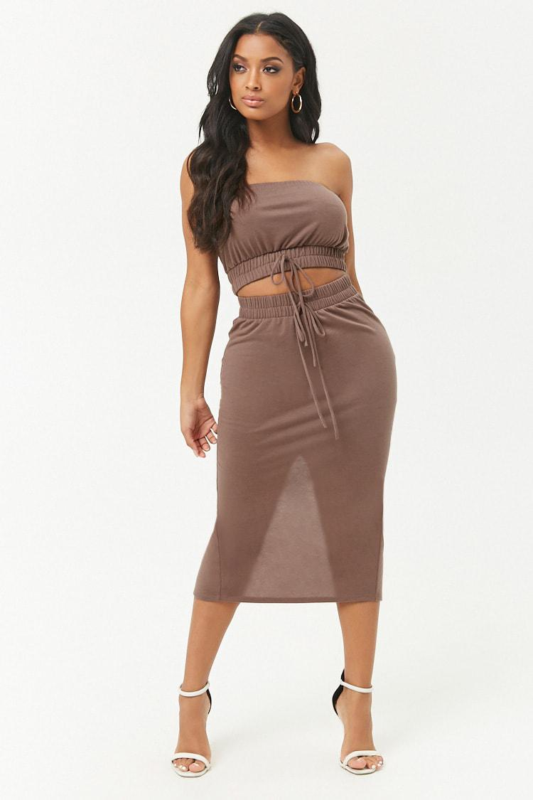 073426de52 Lyst - Forever 21 French Terry Cropped Tube Top   Midi Skirt Set in ...