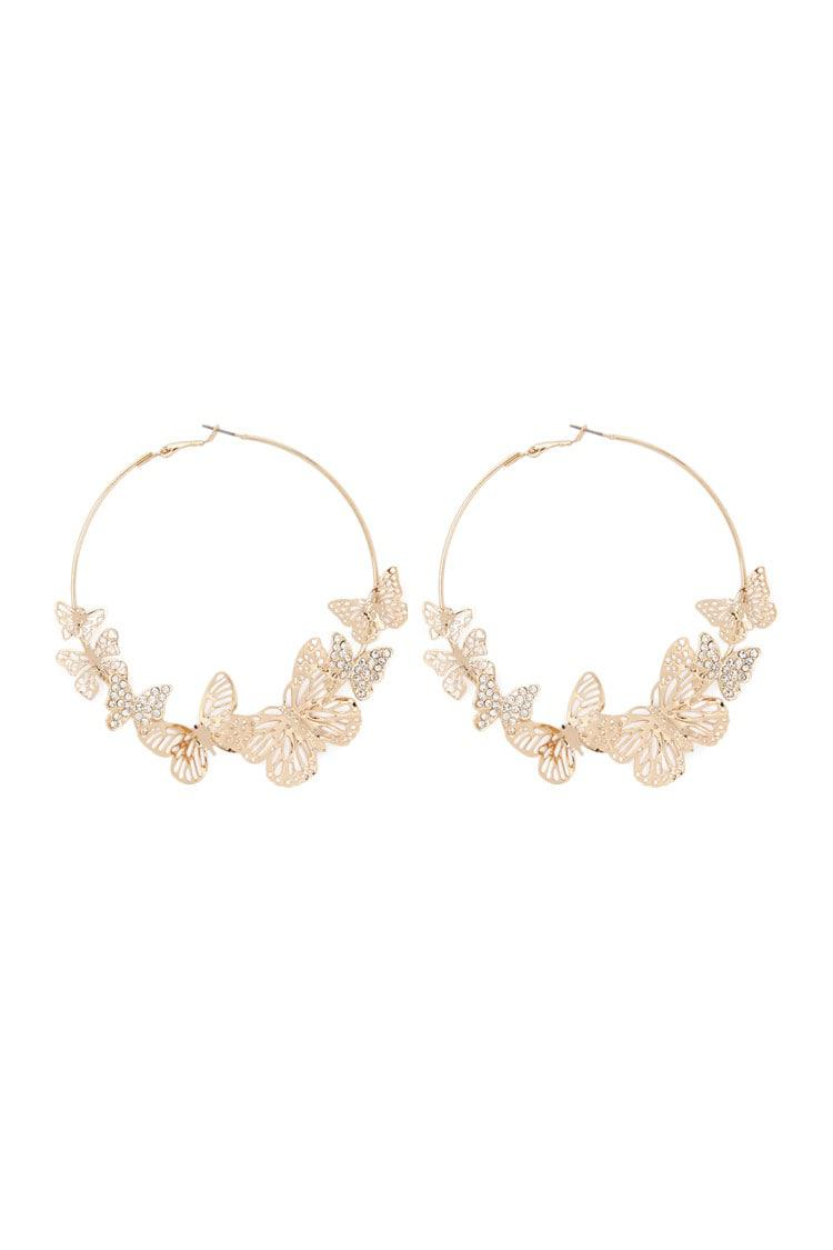 Forever 21 Women S Metallic Erfly Hoop Earrings