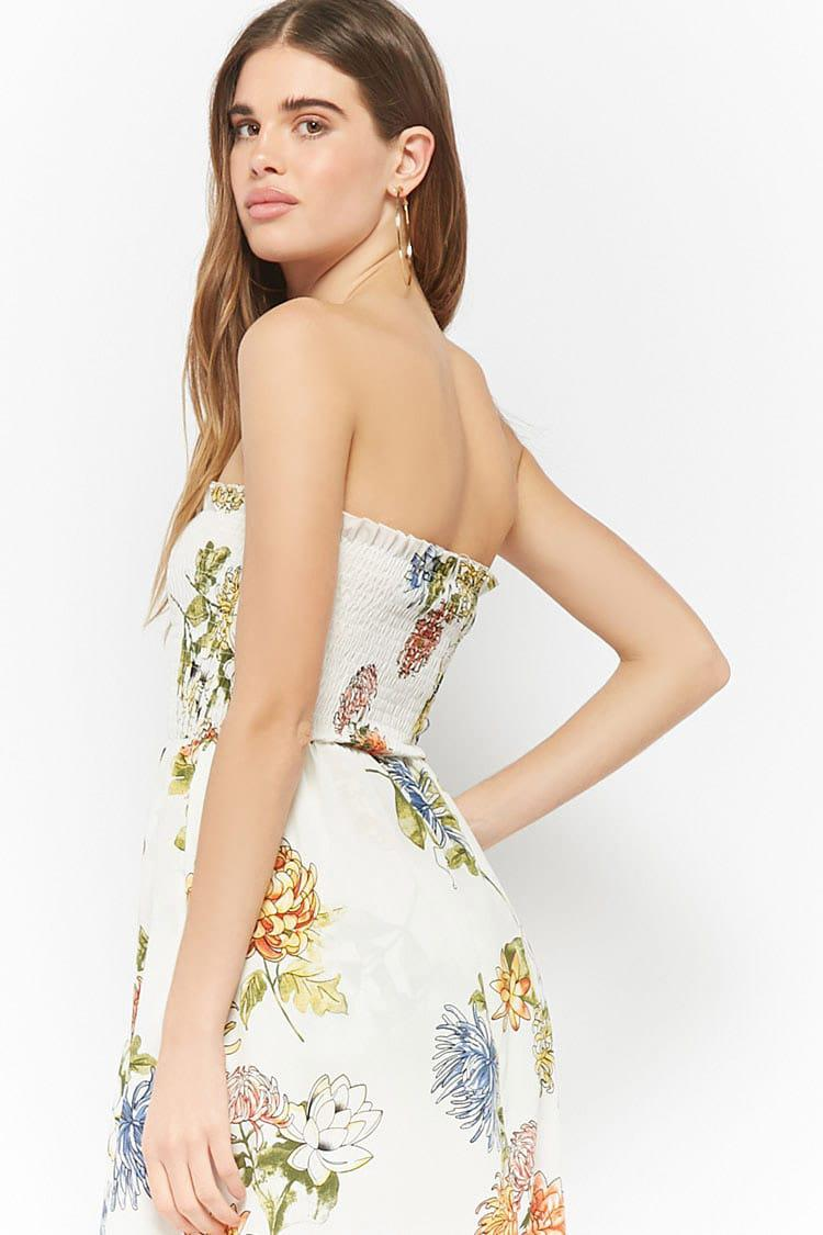 b223b1566cce Forever 21 Floral Smocked Maxi Skort Romper in White - Lyst