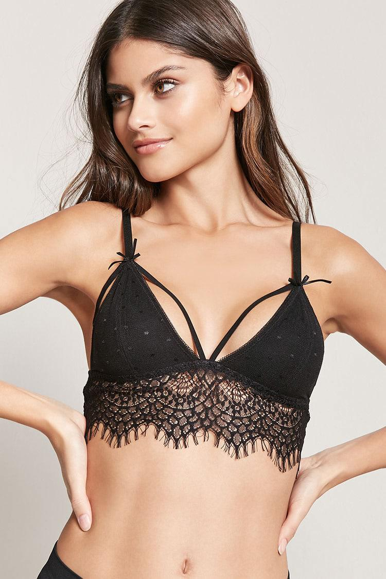 0be6ec6a0e78e Lyst - Forever 21 Strappy Eyelash Lace Bralette in Black