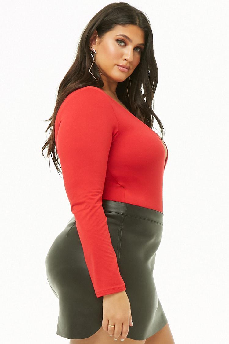8a9471776f7 Forever 21 Women s Plus Size Surplice Long-sleeve Bodysuit in Red - Lyst