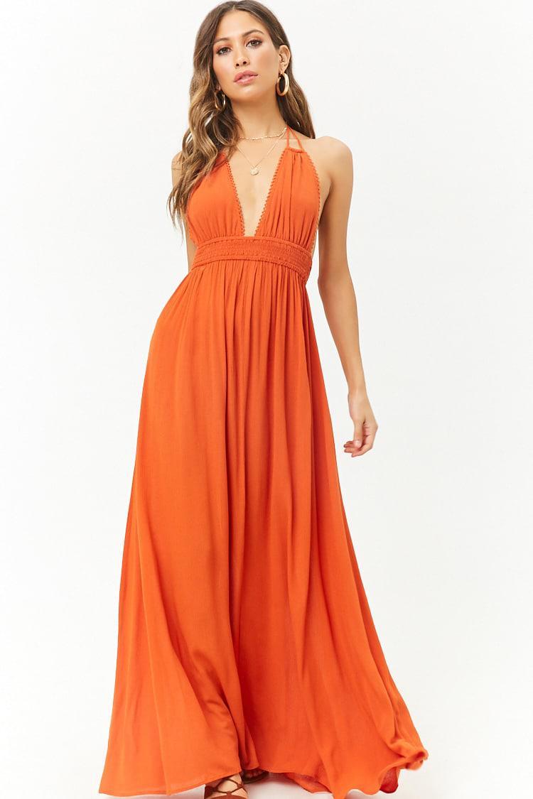 45390eab42d Forever 21 Tasseled Halter Crinkled Maxi Dress in Orange - Lyst
