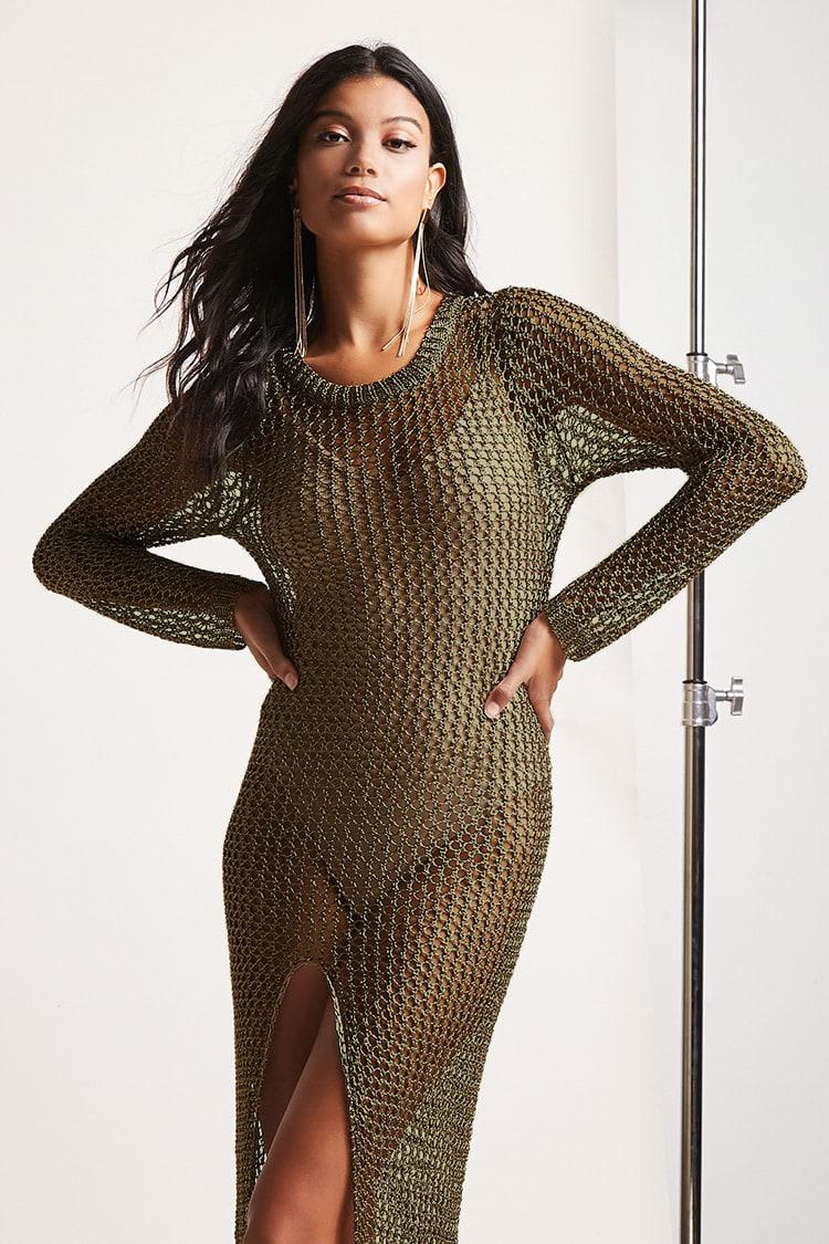 a7731a194f Forever 21 Metallic Chainmail Cover-up in Green - Lyst