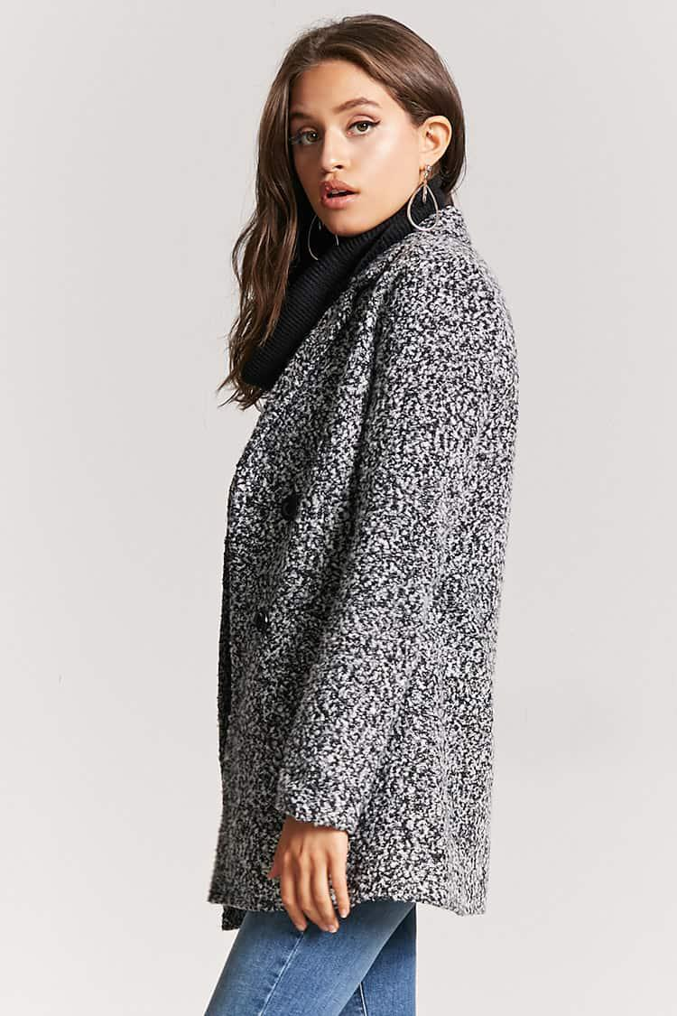 9e0552358b1 Lyst - Forever 21 Boucle Double-breasted Peacoat in Black