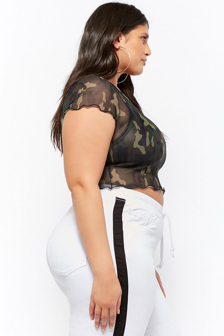 a7920435be3a3 Forever 21 Women s Plus Size Sheer Mesh Camo Crop Top in Green - Lyst