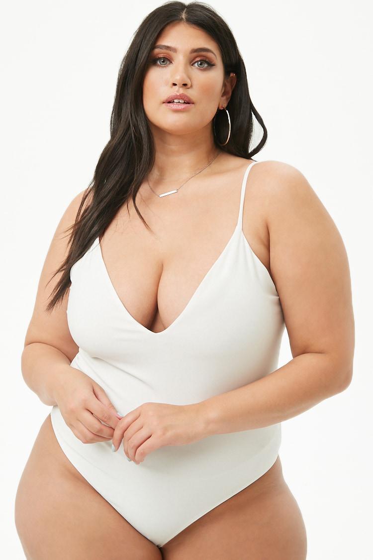 d3c981ba23373 Forever 21 Women s Plus Size V-neck Cami Bodysuit in White - Lyst