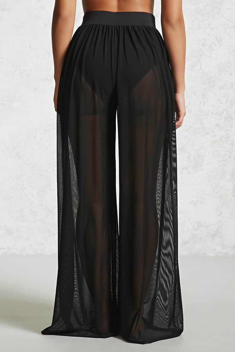 af6aba993c Forever 21 Sheer Mesh Swim Cover-up Pants in Black - Lyst