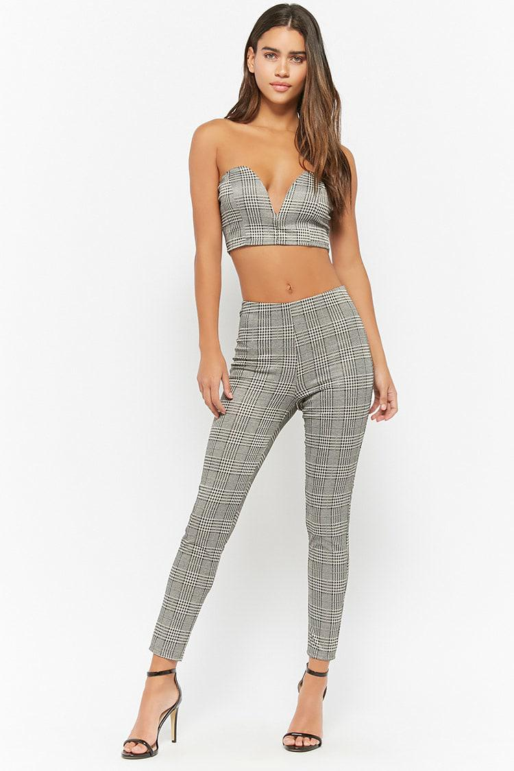 79a3aee024 Lyst - Forever 21 Glen Plaid Tube Top   Pants Set in Gray