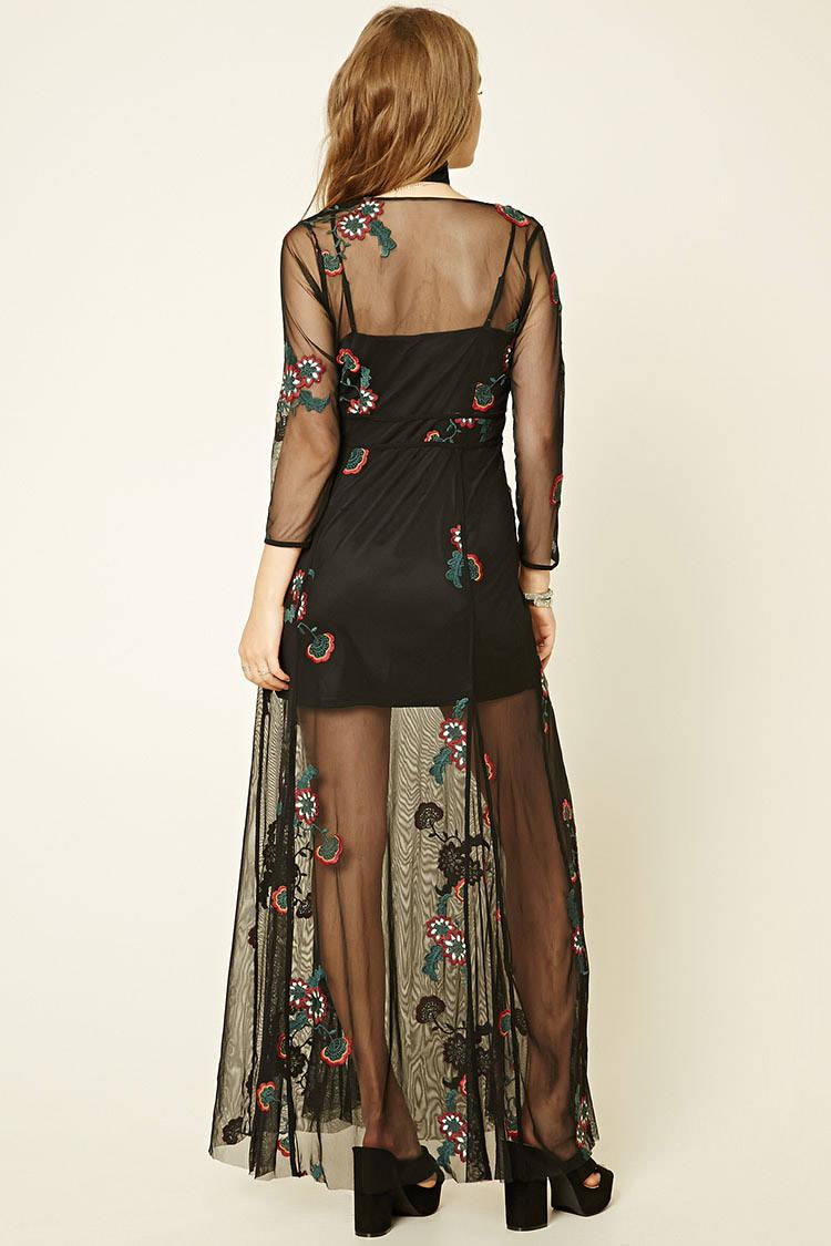 04da553a84d Forever 21 Embroidered Mesh Maxi Dress in Black - Lyst
