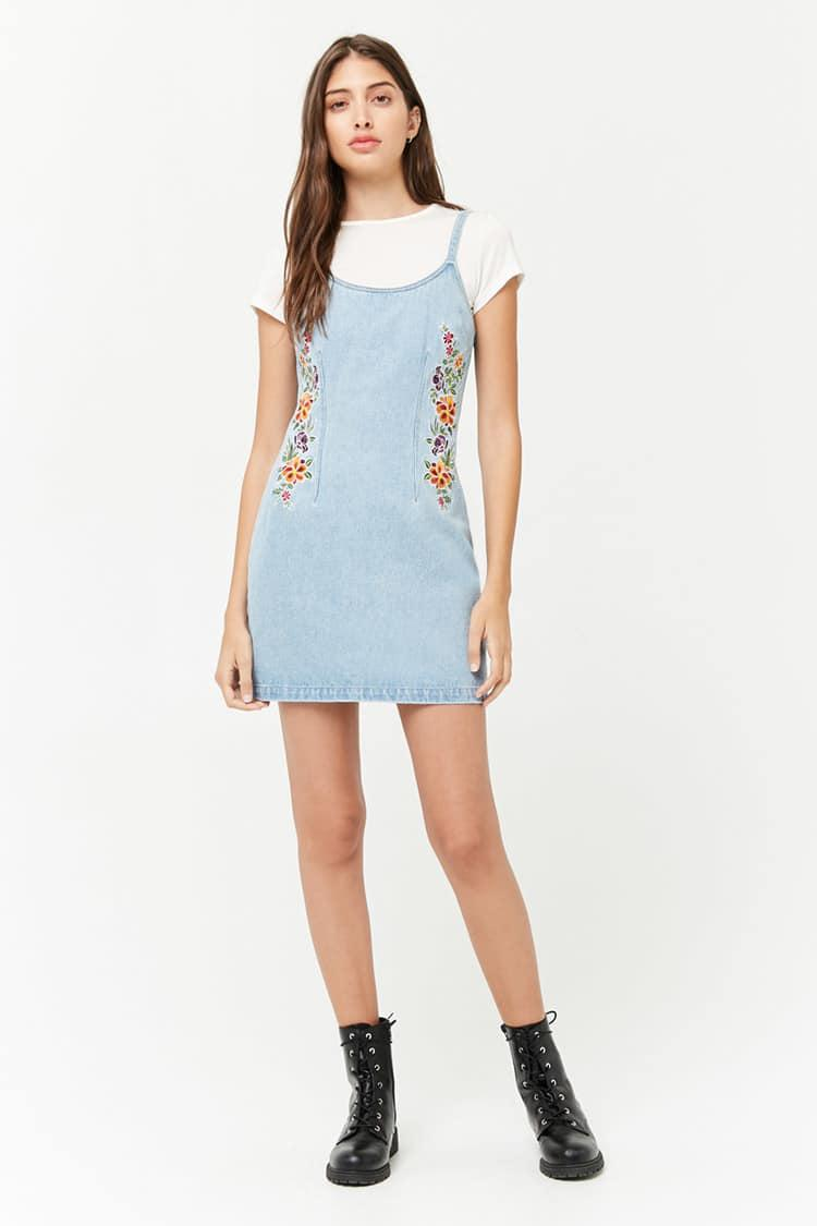 e9f65e99632a Forever 21 Floral Embroidered Denim Dress in Blue - Lyst