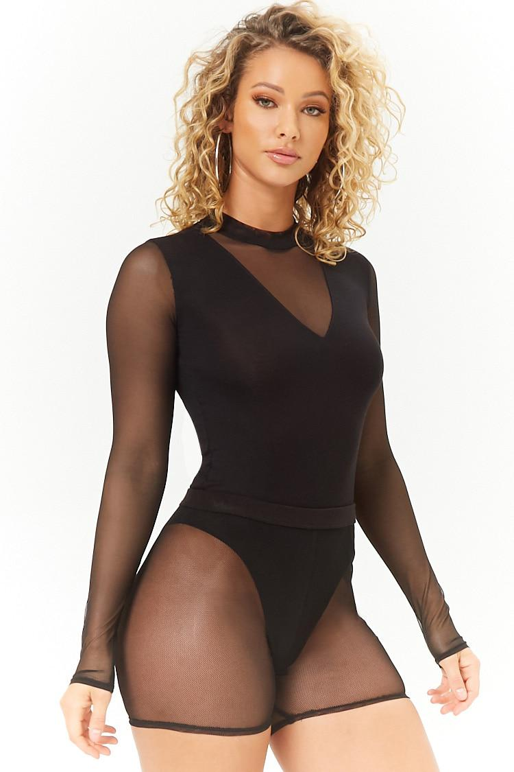 47a3b8464e1c Lyst - Forever 21 Mesh Mock Neck Bodysuit in Black
