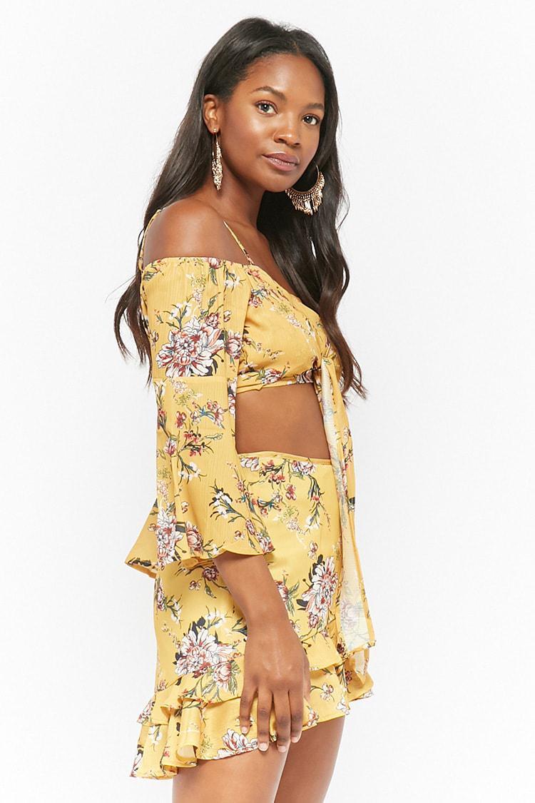 530ea3484dcaa ... Yellow Floral Open-shoulder Top   Ruffle Skirt Set - Lyst. View  fullscreen