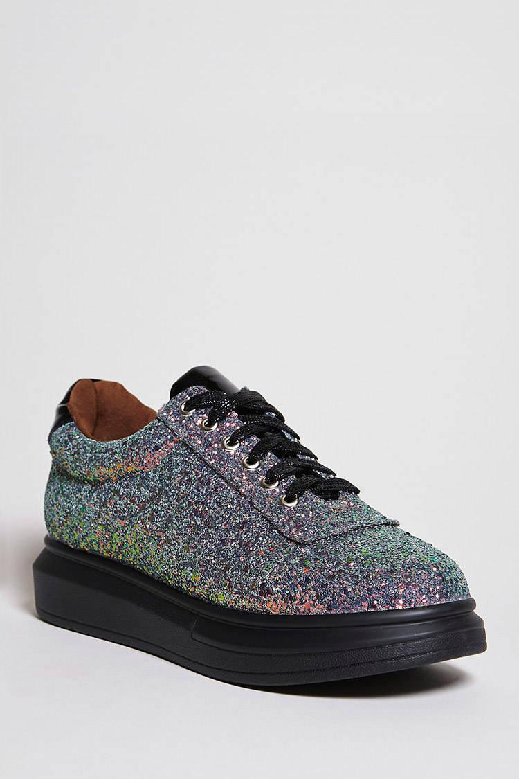 6af9fe1c169d Lyst - Forever 21 Sequin Platform Sneakers in Black