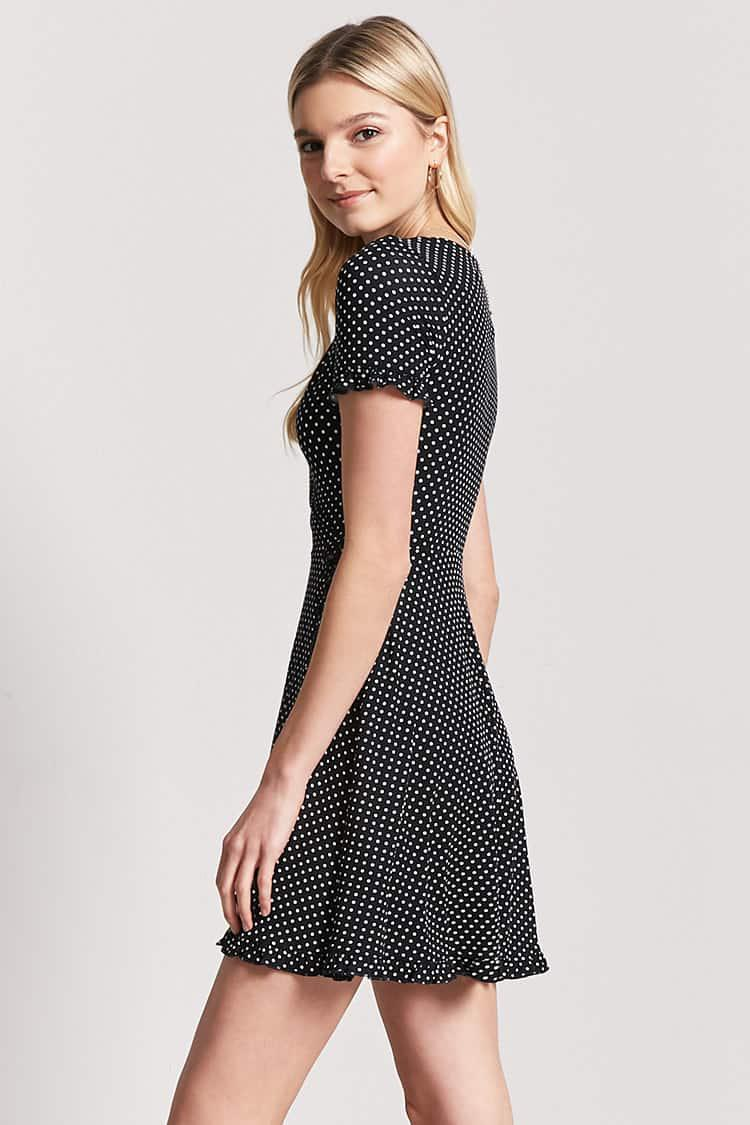 Lyst - Forever 21 Polka Dot Ruffle Skater Dress in Black 09bb62e25