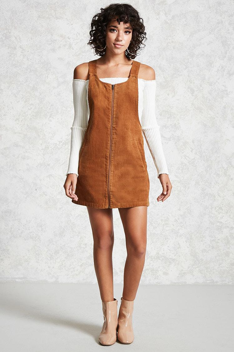 a2f87f1155d Forever 21 Corduroy Overall Dress in Brown - Lyst