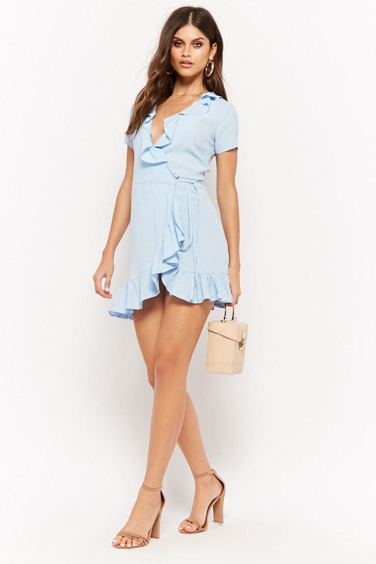 4875b45a6f0 Lyst - Forever 21 The Style Club Ruffle-trim Wrap Dress in Blue
