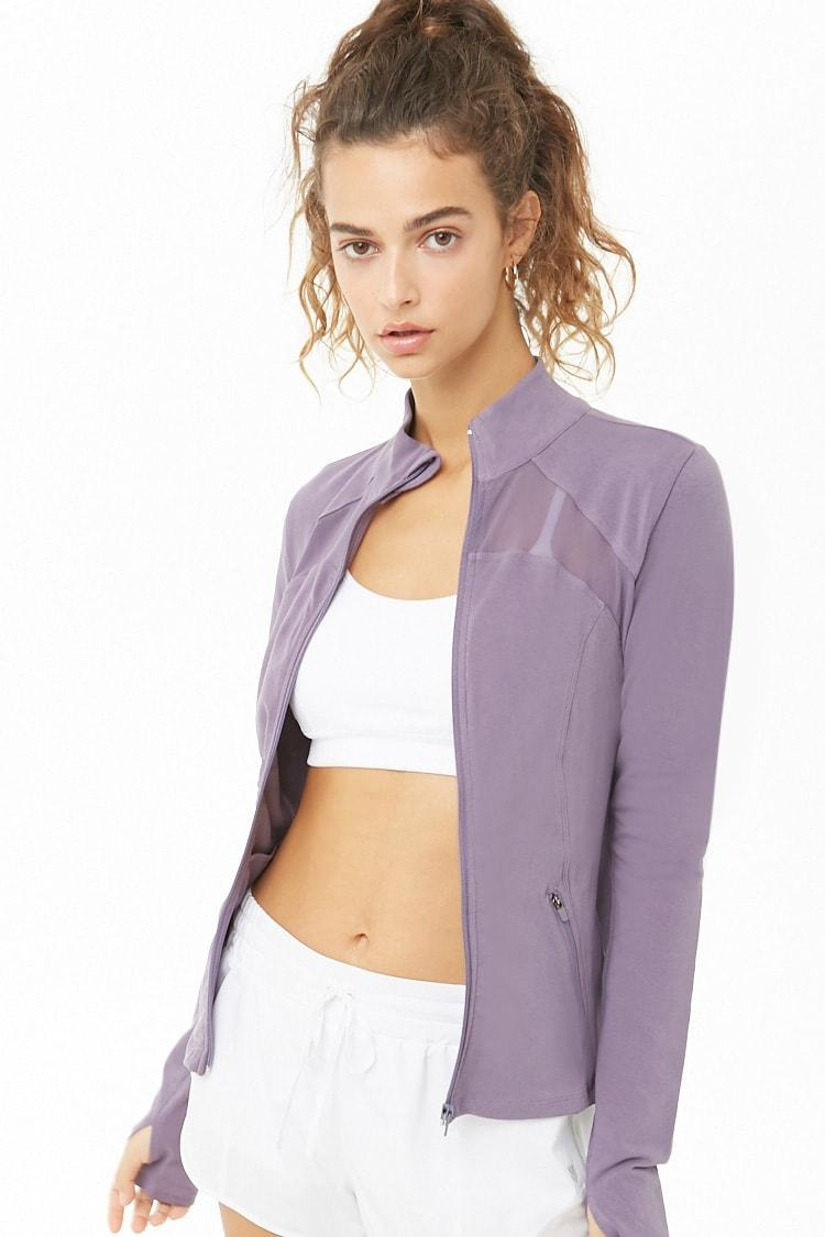 6804a0b046c74d Forever 21 Active Mesh-trim Jacket in Purple - Lyst