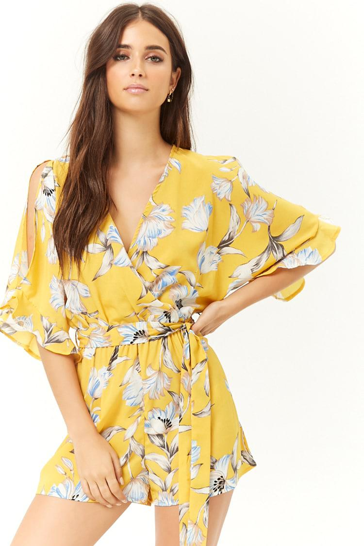 a1d7981df9f Lyst - Forever 21 Floral Print Romper in Yellow