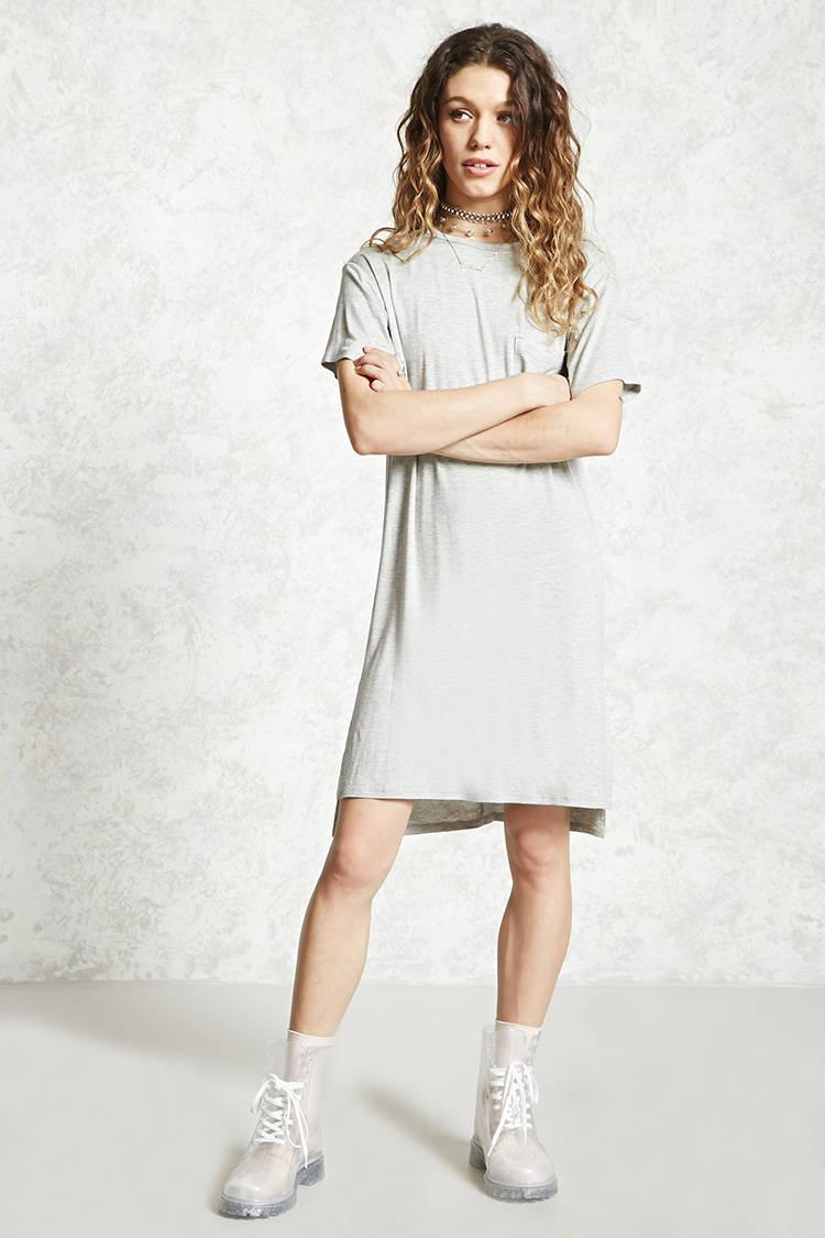 675ef302f1 Lyst - Forever 21 Jersey Knit T-shirt Dress in Gray