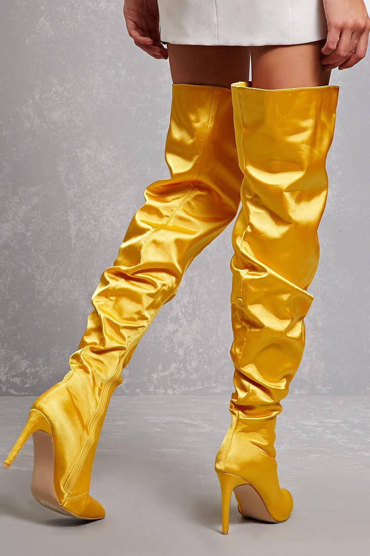 410d04969367 Lyst - Forever 21 Satin Over-the-knee Boots in Yellow