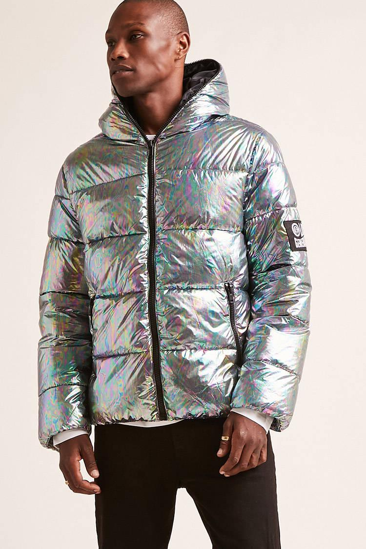 Forever 21 Hooded Iridescent Puffer Jacket For Men Lyst