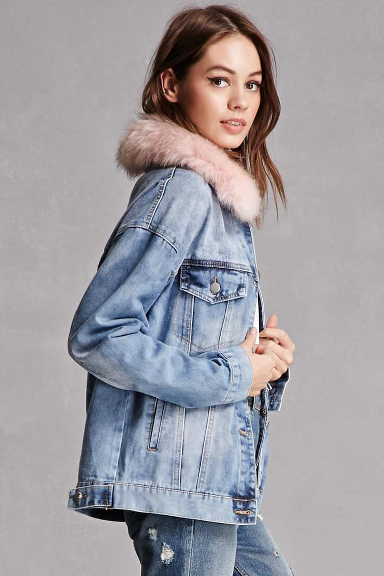 Lyst Forever 21 Faux Fur Collar Denim Jacket In Pink