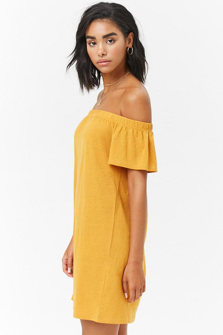 Lyst Forever 21 Off The Shoulder T Shirt Dress In Metallic