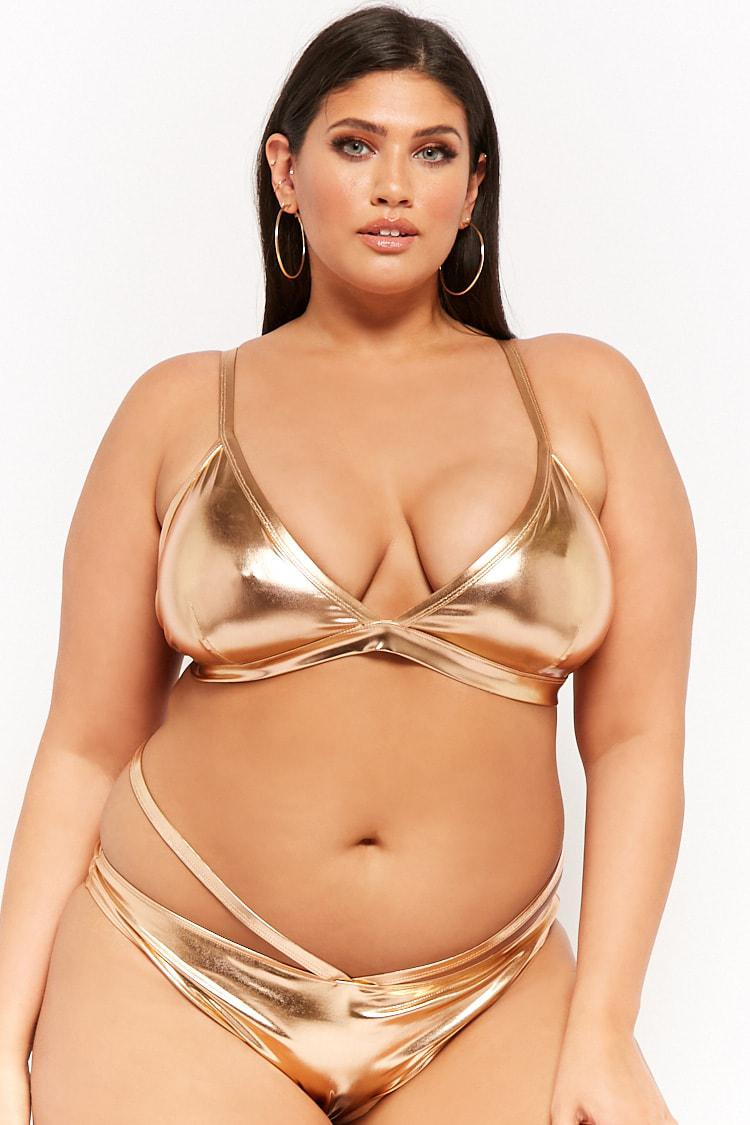 3271a1cf7e Forever 21 Women s Plus Size Metallic Strappy String Bikini Bottoms ...