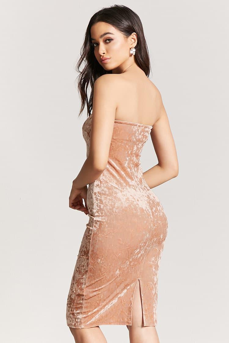 7a8fb44577 Lyst - Forever 21 Crushed Velvet Bodycon Mini Tube Dress in Natural