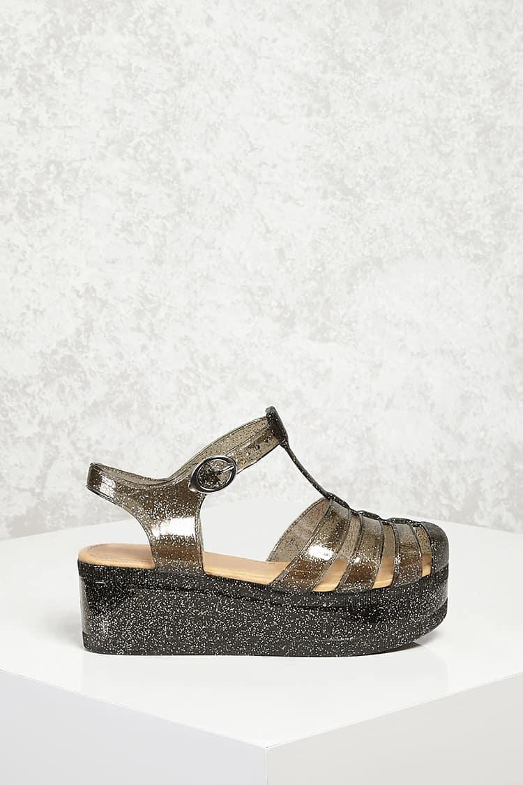 674a56a0391 Lyst - Forever 21 Glitter Jelly Platform Sandals in Metallic