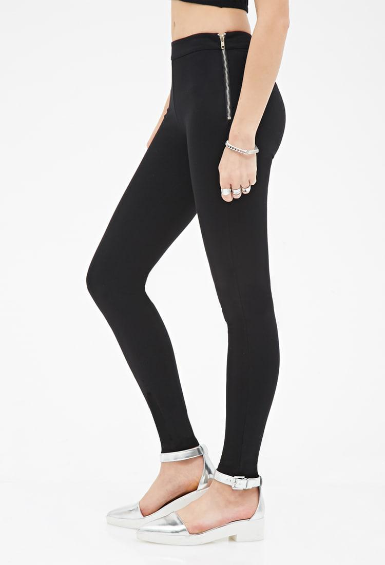84609239ddcc32 Forever 21 Side-zipper Leggings in Black - Lyst