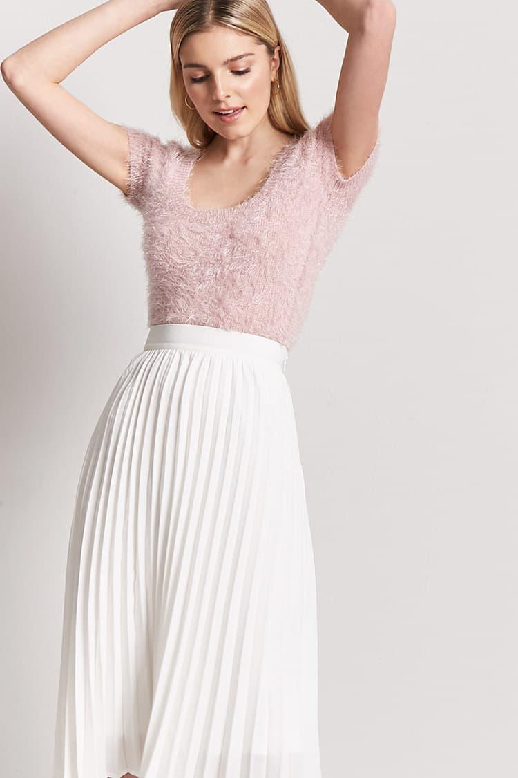 70ff32d77c Forever 21 Accordion Pleated Skirt in White - Lyst