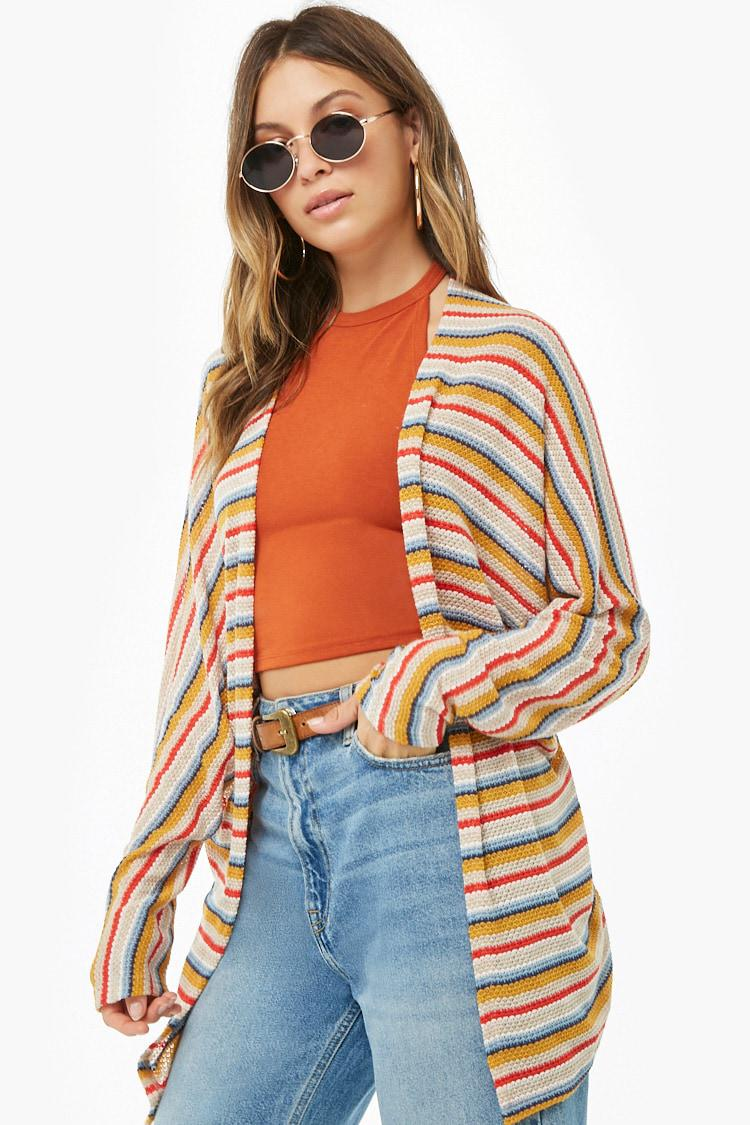Forever 21 Womens Striped Sweater Knit Cardigan Lyst