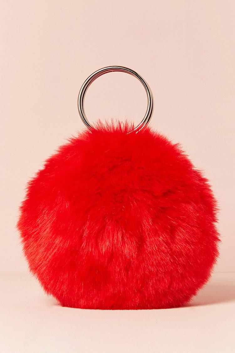 2adbd6c94fac Lyst - Forever 21 Faux Fur Round O-ring Clutch in Red