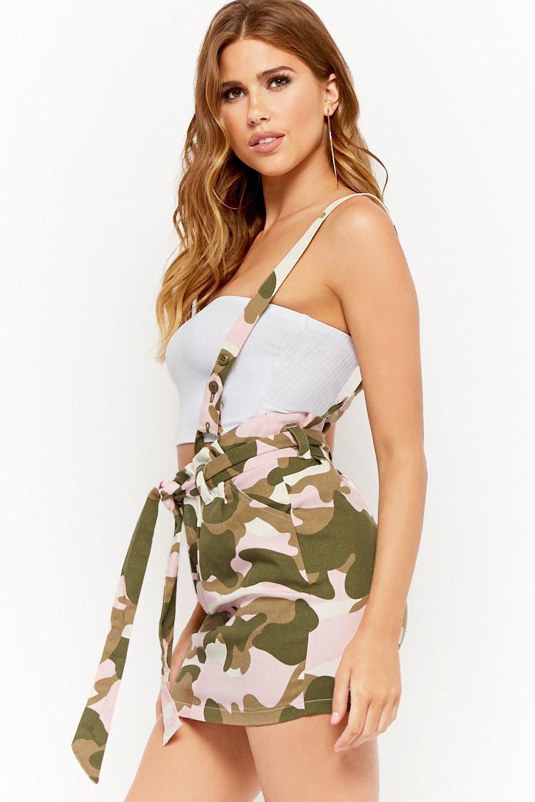 39644a563e4f Forever 21 Camo Suspender Mini Skirt in White - Lyst
