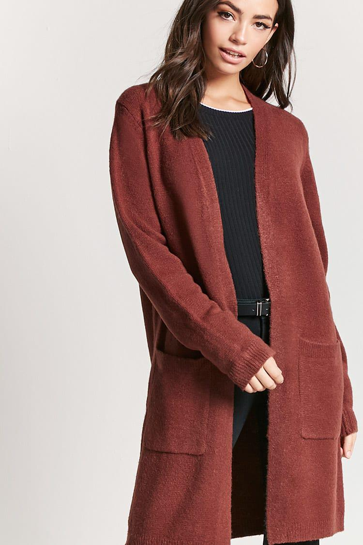 Forever 21 Open-front Duster Cardigan in Red | Lyst