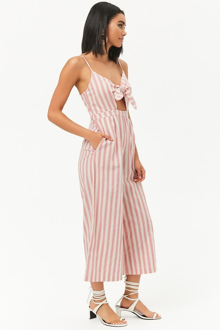 c21a6f1498f Forever 21 - Pink Cutout Striped Wide-leg Jumpsuit - Lyst. View fullscreen