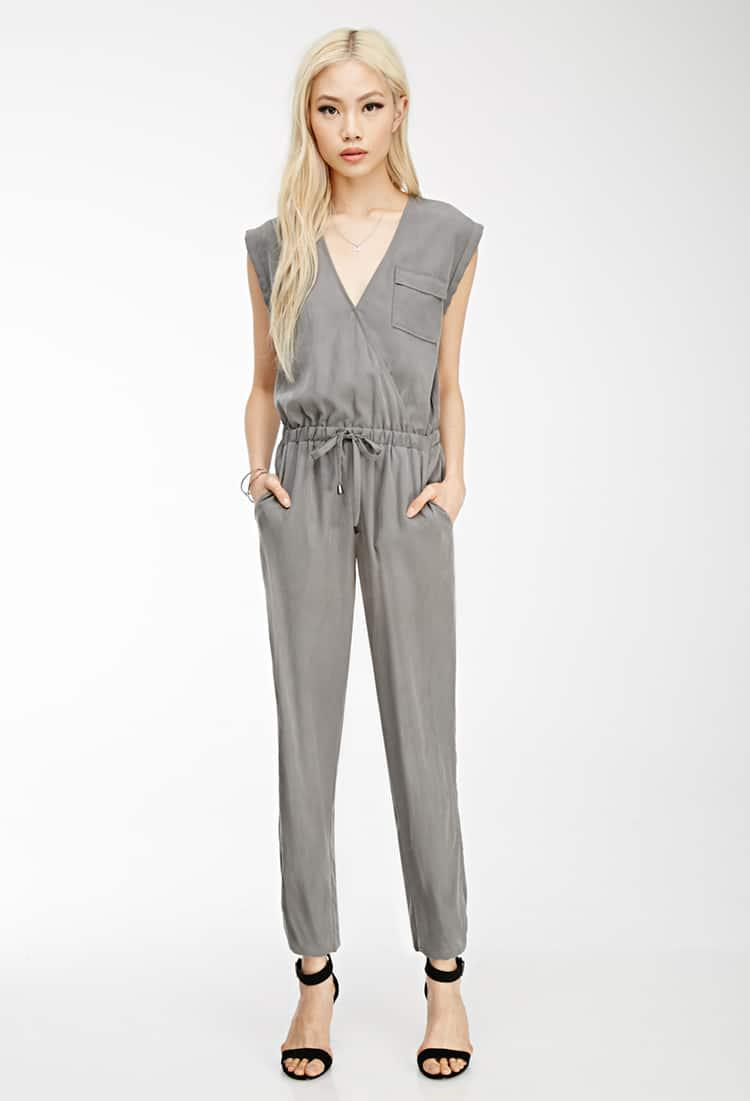 fbb6798fef Forever 21 Brushed Surplice Utility Jumpsuit in Gray - Lyst