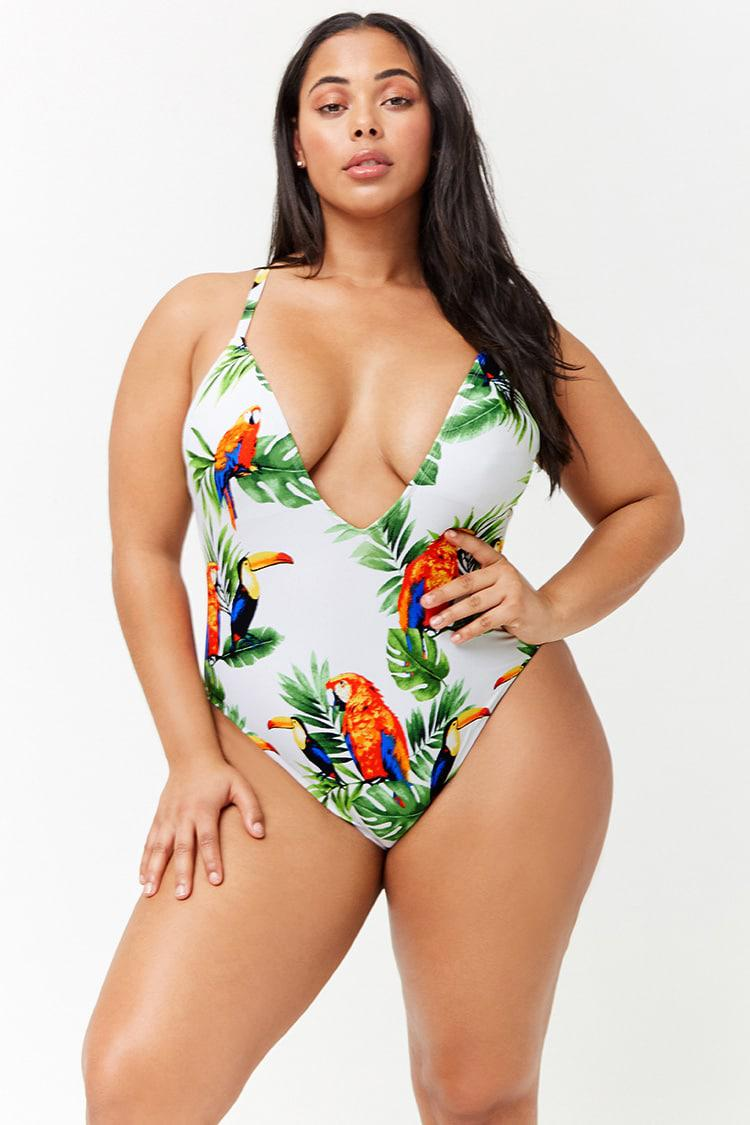 06da625cb6d63 Forever 21 Women s Plus Size Bird   Leaf Print One-piece Swimsuit - Lyst