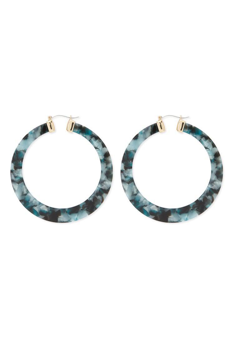 97bc39b8bda2d Forever 21 Tortoiseshell Hoop Earrings in Blue - Lyst