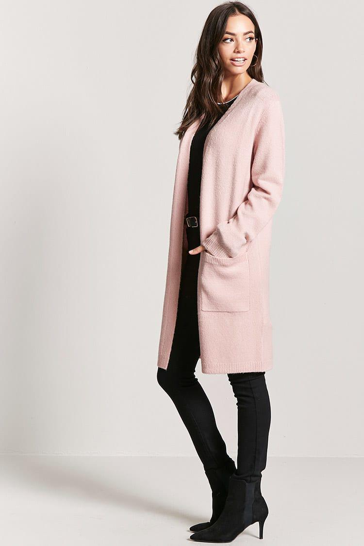 Forever 21 Open-front Duster Cardigan in Pink | Lyst