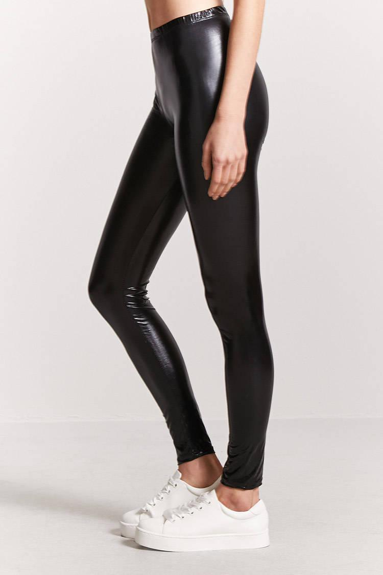 32e4ae86d8ea5f Forever 21 Faux Patent Leather Leggings in Black - Lyst