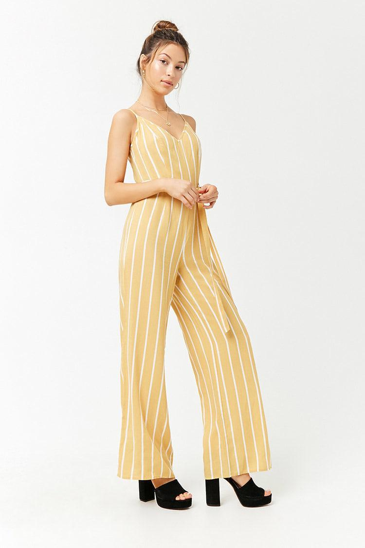 7674dbc2000 Lyst - Forever 21 Striped Cami Jumpsuit in Yellow