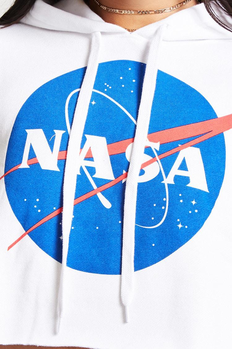 203f857a92 Lyst - Forever 21 Nasa Logo Cropped Hoodie in White