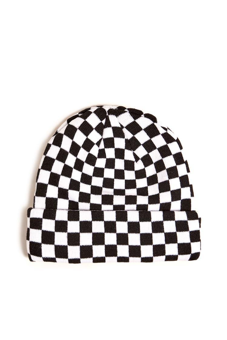 59d19bea3 Forever 21 Men Checkered Knit Beanie in Black for Men - Lyst