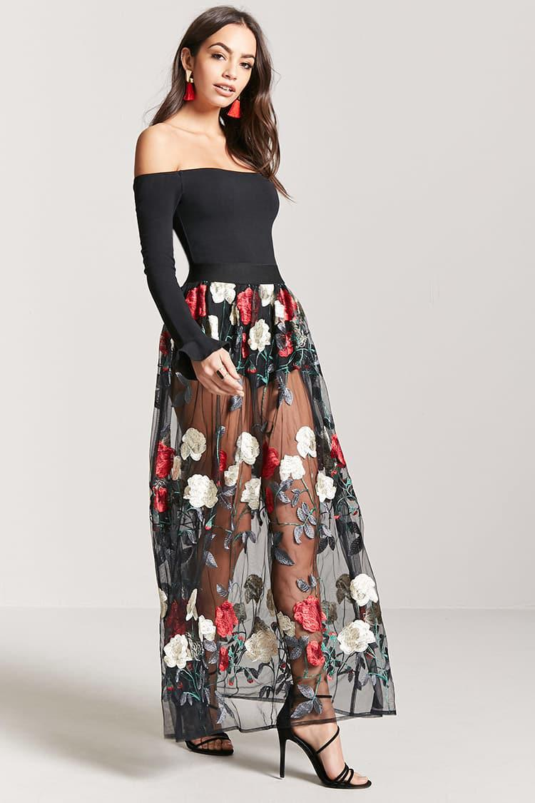 49b5cc61f2f Forever 21 Sheer Mesh Floral Embroidered Maxi Skirt in Black - Lyst