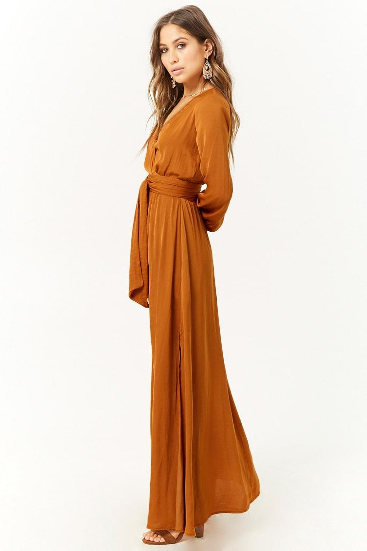 6a8eb3c08a0 Forever 21 Belted Surplice Maxi Dress in Orange - Lyst